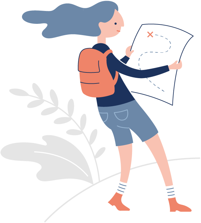 Illustration of adventurous woman with map