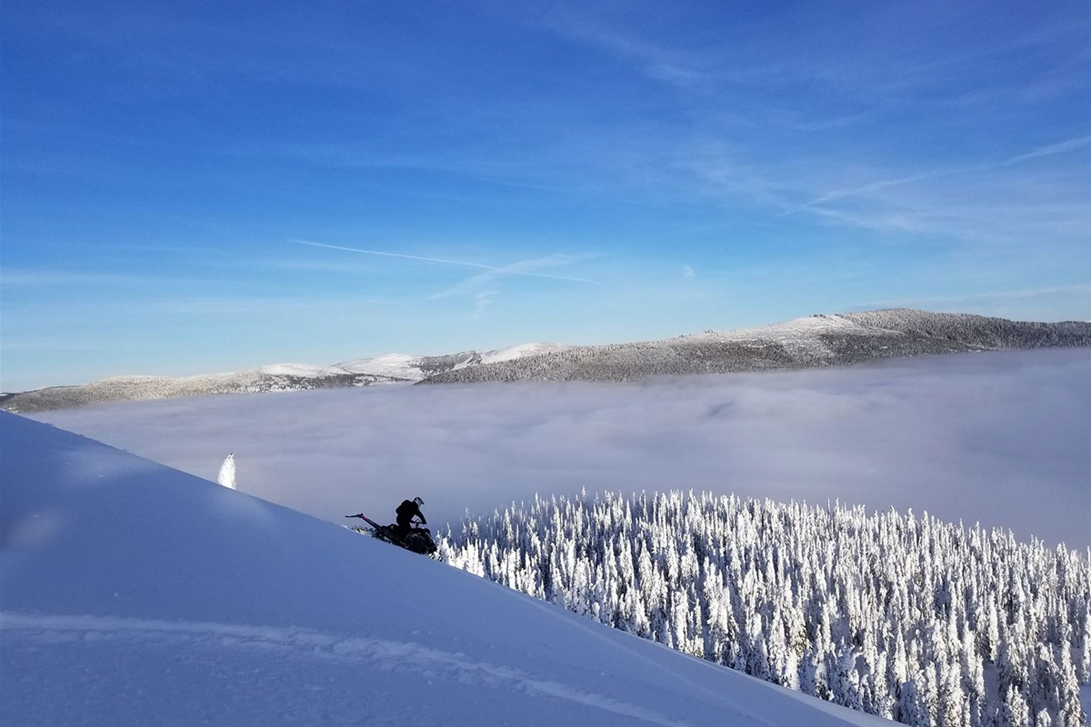 Snowmobiling, back country exploring