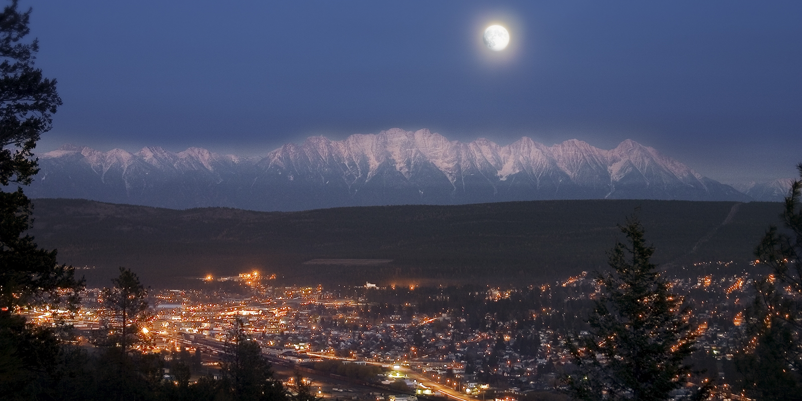 Cranbrook at Night with First Stages of Lunar Eclipse